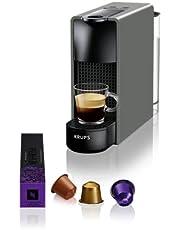 KRUPS NESPRESSO XN110B10WP Essenza Mini Kaffemaskin Grå 0,6 L Högt Pumptryck 19 Bar Som Ger Enastående Kvalitet Uppvärmningstid På 25 Sekunder 2 koppstorlekar