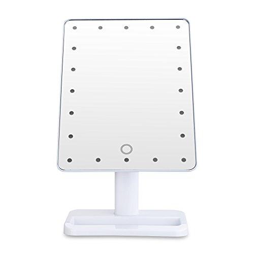 Wundeschöne 20 LEDs Kosmetikspiegel Standspiegel Beleuchteter Spiegel Schminkspiegel mit Beleuchtung Makeup Spiegel weiß