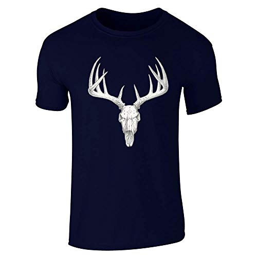 Deer Skull Retro Vintage Western Hunting Hunter Navy Blue L Short Sleeve T-Shirt