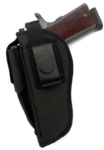 USA Made RH LH Deluxe Belt Slide and Clip-On Side/Hip Holster with Magazine Pouch for 5