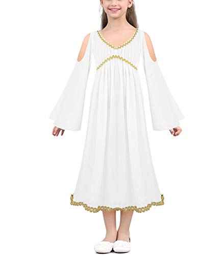 CHICTRY Athena Child Costume Greek Goddess Gown Dress up Halloween Night Cosplay Party White -