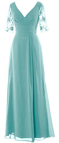 Long Of Formal Aqua Gown Dress Evening Half Neck Macloth Bride Sleeves V Women Mother fwO8qv