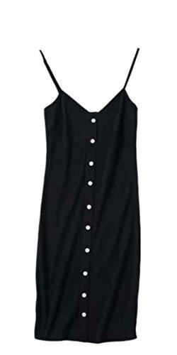 Jaycargogo Femmes Sexy À Fines Bretelles V-cou Simples Robes Moulantes Poitrine Noire