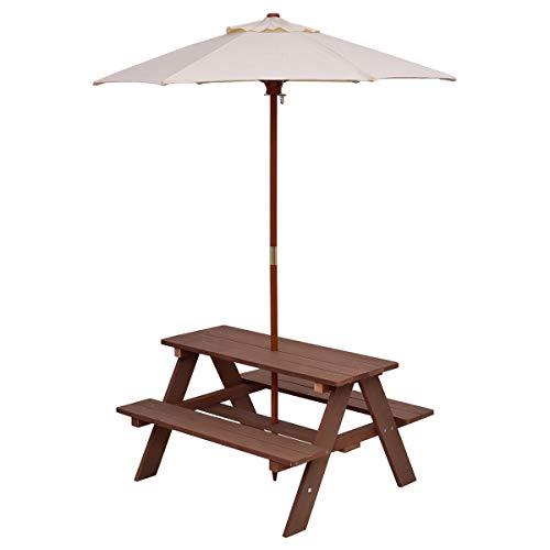 - Costzon Kids Picnic Table & Bench Set, 4 Seat w/Folding Umbrella