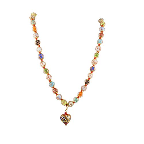 (Just Give Me Jewels Venice Murano Sommerso Aventurina Glass Bead Strand Necklace in Multi-Colors with Klimt Heart, 18
