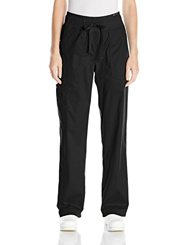 KOI Women's Morgan Ultra Comfy Yoga-Style Cargo Scrub Pants with Rib-Knit Waist, Black, Large by KOI