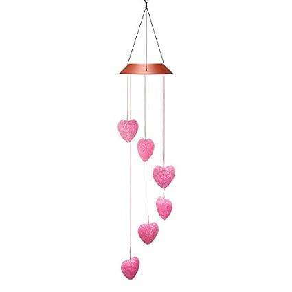 e0e23a8e23fb Amazon.com   Solar Pink Heart Wind Chimes Outdoor