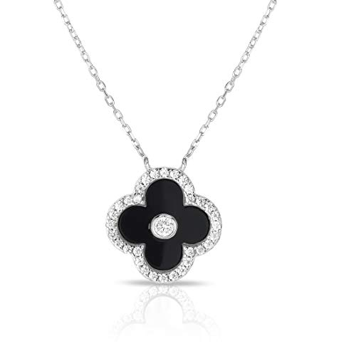 (Unique Royal Jewelry Solid 925 Sterling Silver Cubic Zirconia Four Leaf Clover Pendant and Adjustable Length Necklace 16