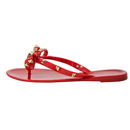 - Studded Bow Women's Sandals Jelly Thong Stud Flat Rivets Strap Pearled Jellies Flip Flop Rubber Summer Beach Rain Shoes Valencia Rock Slippers (9US, Red)
