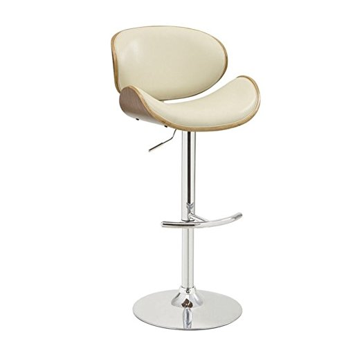 Adjustable Bar Stool Ecru and Chrome