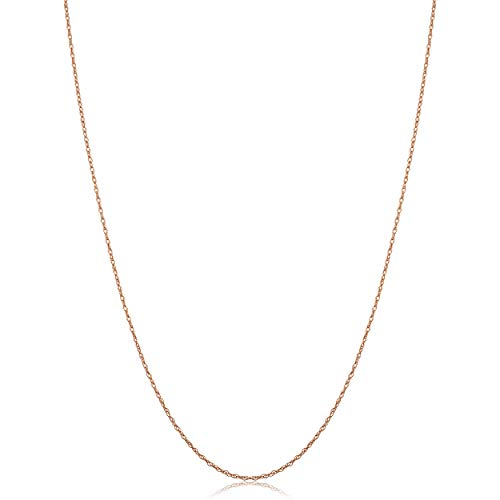 Classic 14k Gold Rope Chain - Kooljewelry 14k Rose Gold Dainty Rope Chain Necklace (0.7 mm, 18 inch)
