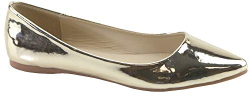 Bella Marie Angie-53 Women's Classic Pointy Toe Ballet Slip On Flats Shoes (9), Gold Patent