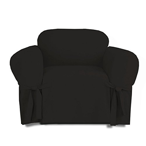- Linen Store Microsuede Slipcover Furniture Protector Cover, Black, Chair