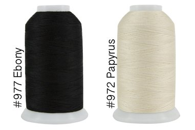 Super Threads King Tut #40/3 Ply Quilting Thread 2,000 per cone BUNDLE of 2 - Papyrus & Ebony (#972 + #977) by King Tut