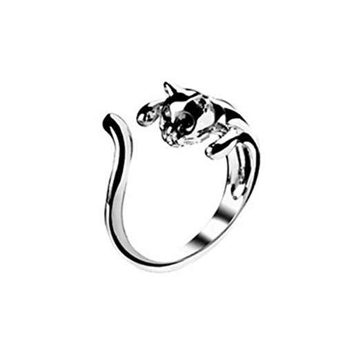 Aniywn Hot Sale! Fashion Silver Color Cute Cat Openings Ring with Black Eyes Jewelry (Free Size, (Skeletons For Sale)