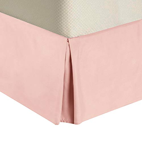 Royal Tradition Solid 300 Thread Count Pure Cotton Twin XL Bed Skirt (Blush) Pleated Tailored Bedskirts with 15