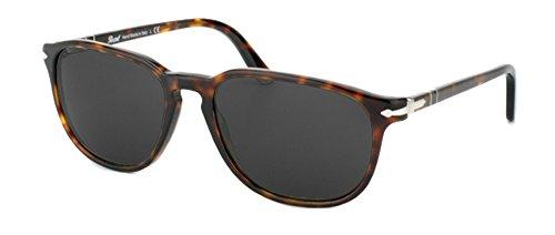 Persol PO3019 Sunglasses (52mm Havana Frame, Solid Black Lens)