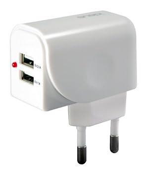 Ideus MCFUNI2USB31W - Cargador de red USB universal con cable, color blanco