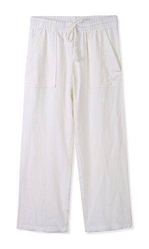 se Relaxed Casual Cropped Elastic Band Soft&Compy Linen Pant White L (Womens Low Rise Cropped Pant)