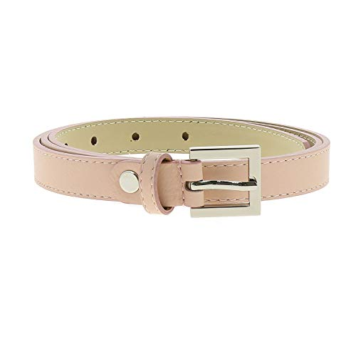 FASHIONGEN - Belt Genuine Italian leather, leather Nubuk lined for women, width 0.75in, LINDA - Pink Nude, 85 cm (33.40 in) / Trousers 6 to 10 (Linda Nude)