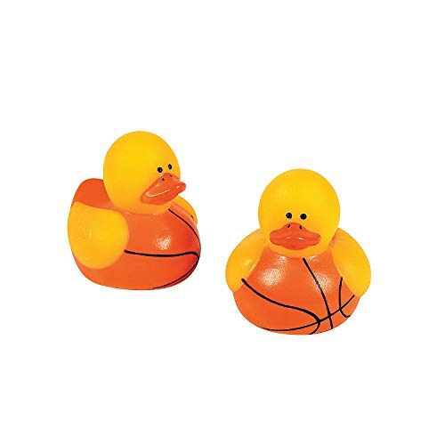 Fun Express - Mini Basketball Rubber Ducks for Party - Toys - Character Toys - Rubber Duckies - Party - 24 Pieces ()