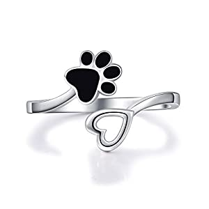 ACJFA 925 Sterling Silver Paw Print Love Heart Ring Adjustable Wrap Open Rings Animal Jewelry for Pet Dog Cat Lovers