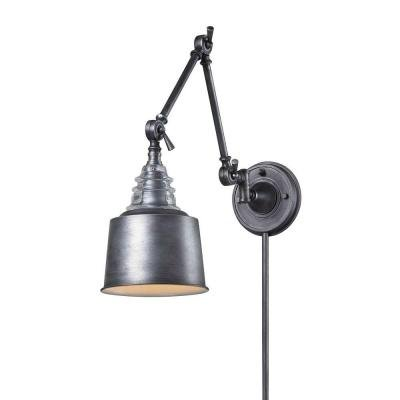 (Titan Lighting Insulator Glass 1-Light Weathered Zinc Wall-Mount Swing Arm Sconce)