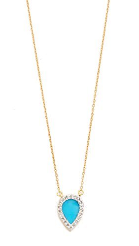 Adina Reyter Women's 14k Gold Small Turquoise + Diamond Teardrop Pendant Necklace, Gold/Turquoise, One Size (Diamond Pendant Teardrop)