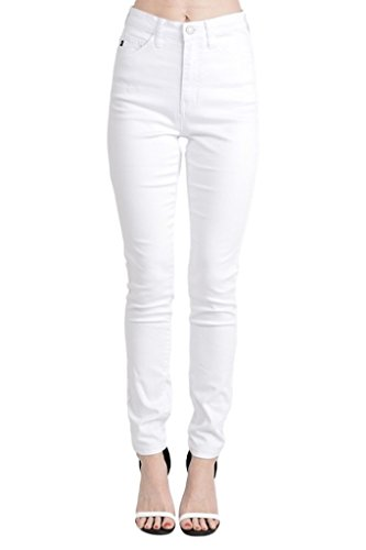 Price comparison product image Kan Can Women's High Rise Skinny Jeans (11,  White)