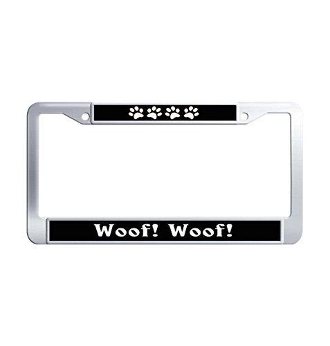 FuKongCase Woof! 2 Holes Car License Plate Frame, Thin Funny Paw Print Black Car Tag Cover Frames with 2 Screws and Caps ()