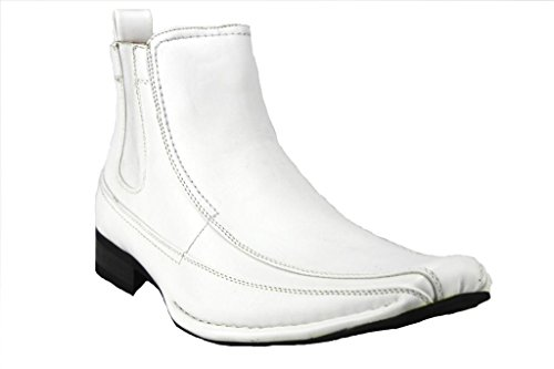 Majestic Men's 76631 Leather Lined Ankle High Chelsea Dress Boots, White Napa, 10.5