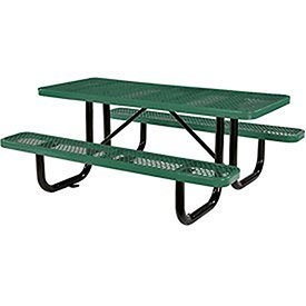 "Global Industrial 72"" Expanded Metal Rectangular Picnic Table, Green"