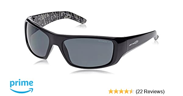 Arnette Mens AN4182 Hot Shot Rectangular Wrap Sunglasses, Gloss Black/Grey Polarized, 62 mm