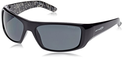 Arnette Men's Hot Shot Polarized Wrap, Gloss Black/Grey, 62 mm