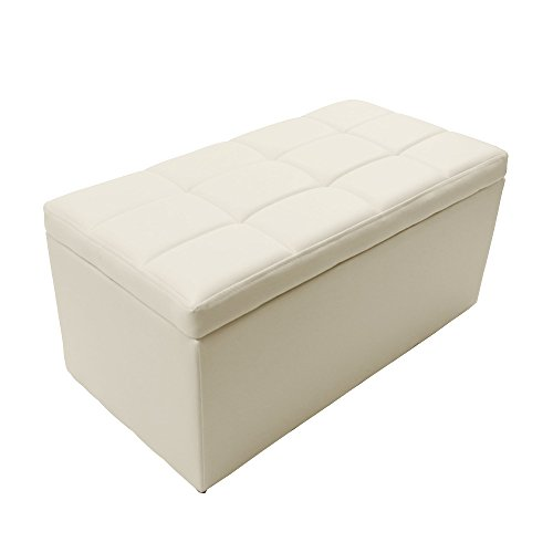 Magshion 2 Sizes-Unfold Leather Storage Ottoman Bench Footstool Cocktail Seat Coffee End Table (Rectangle, Ivory)