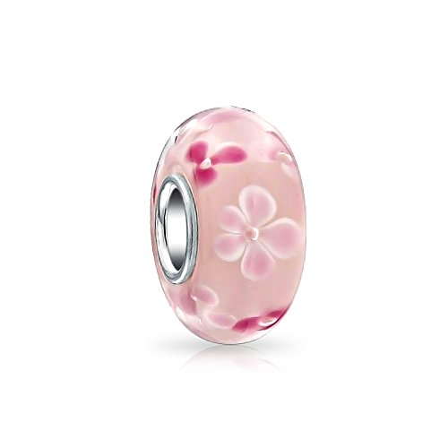 Pink and white Flowers Light Pink Murano glass Lampwork Charm Bead .925 Sterling (Pink Silver Charm)