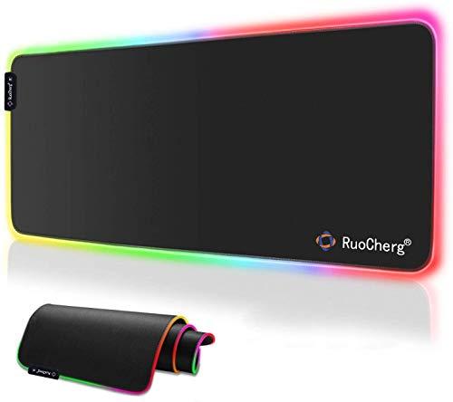 RuoCherg Alfombrilla Gaming XL, RGB Alfombrilla de Raton para Juegos LED Grandes 10 Modos de Iluminacion Superficie Impermeable Base de Goma Antideslizante para Jugadores, PC y Portatiles