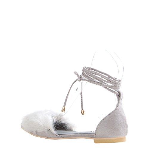 Cape Robbin Vrouwen Puntige Teen Selftie Been Wrap Lace Up Ballet Platte Ballerina Sandalen Schoenen Grijs