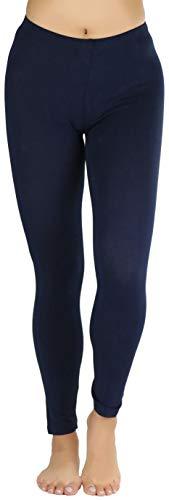 ToBeInStyle Women's Full Length Cotton Leggings - Navy - S
