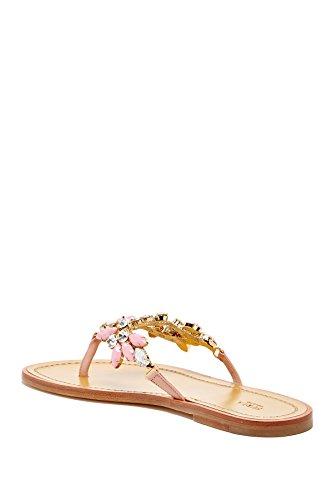 Furla Femmes Minnie En Cuir Embelli Sandale Thong Naturel