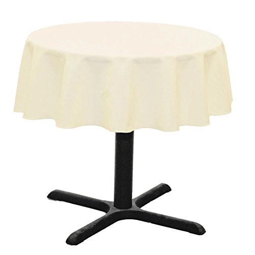 LinenTablecloth Round Cotton-Feel Tablecloth, 51-Inch, Ivory