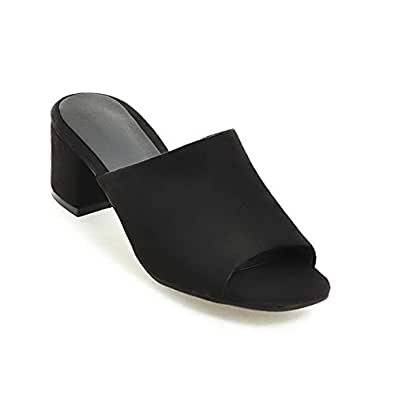 BalaMasa Womens AFL00294 Low-Top Low-Cut Uppers Peep-Toe Black Pu Block Heels - 2 UK (Lable:33)