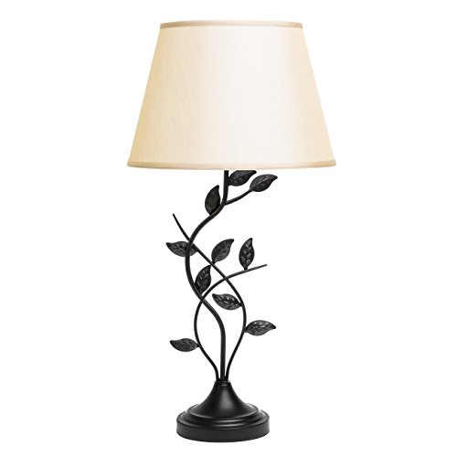 (Best Choice Products 30in Transitional Style Table Lamp with Leaf Design and Beige Lamp Shade, Matte Black)