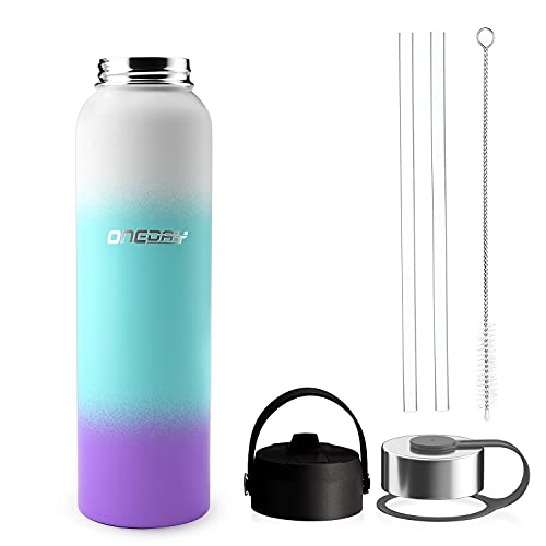 oneday Sports Water Bottle Vacuum Insulated Stainless Steel Straw & Wide Mouth Lids 24oz - Keeps Liquids Hot or Cold with Double Wall Thermo Mug, Metal Canteen