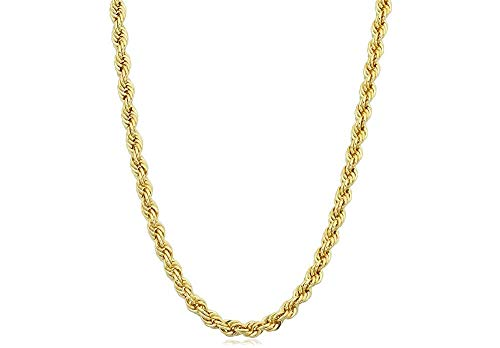 (Verona Jewelers 925 Sterling Silver Diamond-Cut Rope Chain Necklace 2MM, 3MM, 4MM - 925 Braided Twist Italian Necklace, 925 Rope Chain, 14K Gold Over Silver Rope Chain Necklace (20, 3MMGOLD))