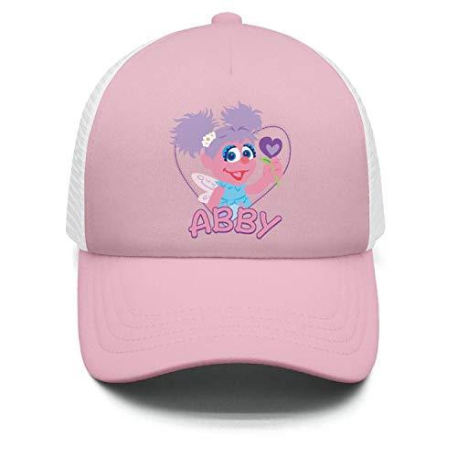 KLGJARFG Kids Toddler Breathable Light-Pink Abby-Cadabby-Hello-Muppet-Flower-Dad TruckerFlat Brim Baseball Hat]()