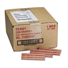 — Pop-Open Flat Paper Coin Wrappers, Pennies, $.50, 1000 Wrappers/Box