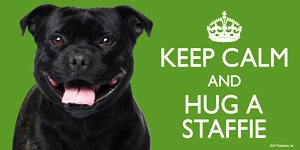 Staffordshire Bull Terrier Black / Staffie / Staffy Gift - 'KEEP CALM' LARGE colourful 4' x 8' MAGNET - High Quality flexible magnet for indoor or outdoor use for your Fridge, Car, Caravan or use on any flat metal surface -Water proof and UV resistant.
