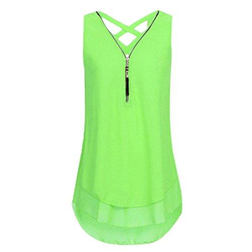 (NREALY Chiffon Women Loose Sleeveless Tank Top Cross Back Hem Layed Zipper V-Neck T Shirts Tops (S, Mint Green))