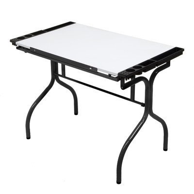 Bundle-32 Folding Craft Station with Metal Support Bars (2 Pieces) Finish / Work Surface: Black / White Laminate